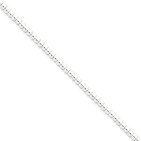 Sterling Silver 16in Hollow Beaded Box Chain 3mm