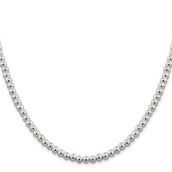 Sterling Silver 18in Hollow Beaded Box Chain 5mm