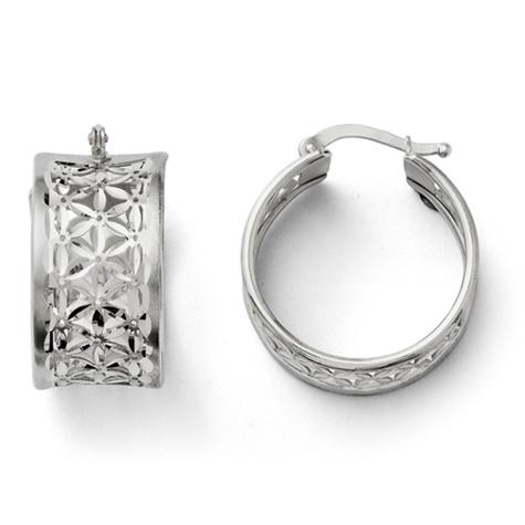 3/4in Sterling Silver Floral Hoop Earrings