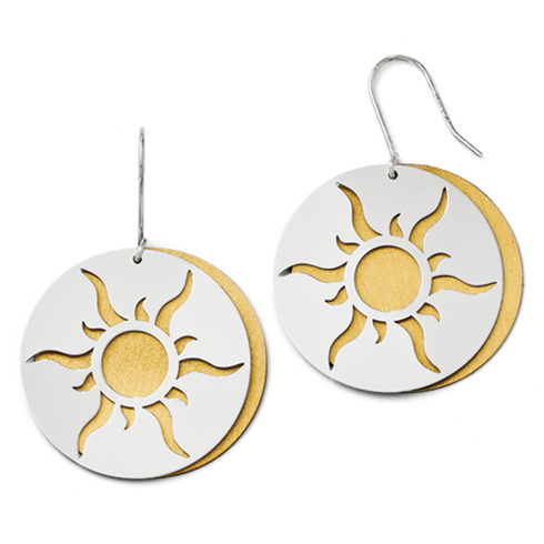 Sterling Silver 14k Yellow Gold-plated Sun Earrings
