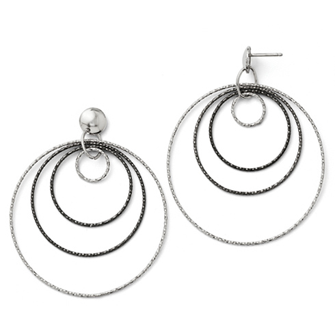 Sterling Silver Ruthenium-plated Quad Hoop Earrings