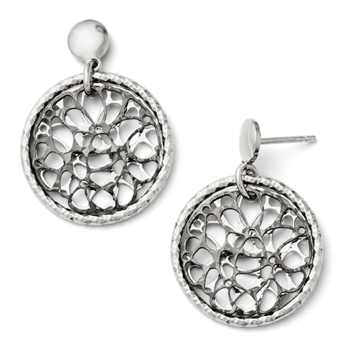Sterling Silver Diamond Cut Ruthenium Plated Post Earrings