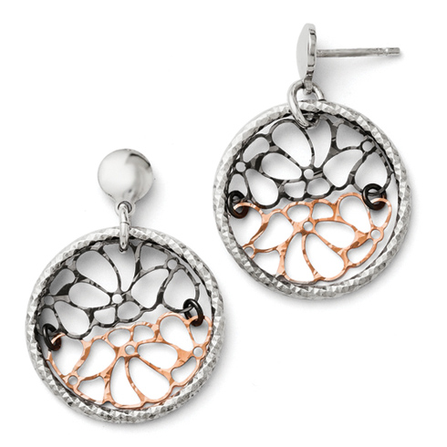 Sterling Silver Ruthenium and Rose Gold-plated  Post Earrings