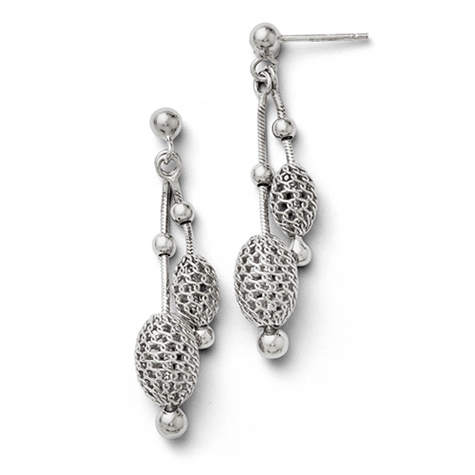 1 1/2in Sterling Silver Beaded Dangle Earrings