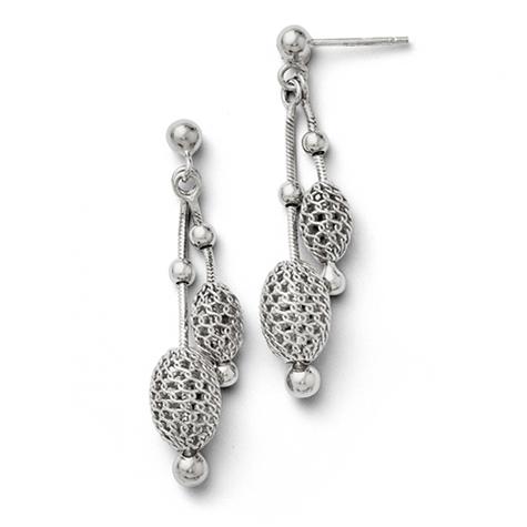 1 1/2in Sterling Silver Beaded Dangle Earrings