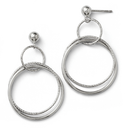 Sterling Silver 1 5/8in Textured Triple Hoop Earrings