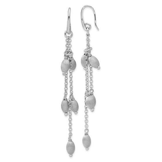 2 3/4in Sterling Silver Textured Beads Triple Strand Dangle Earrings