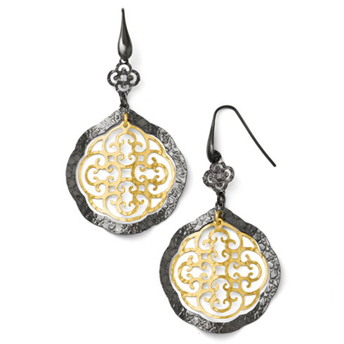 Sterling Silver Ruthenium and Yellow Gold-plated  Post Earrings