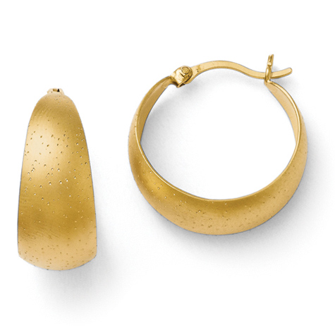 7/8in Gold Plated Sterling Silver Radiant Essence Hoop Earrings