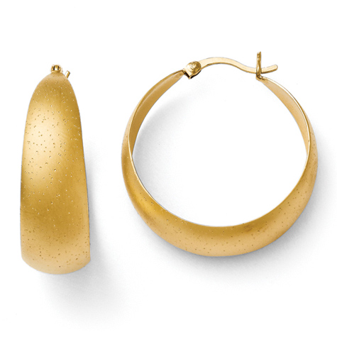 1 1/4in Gold Plated Sterling Silver Radiant Essence Hoop Earrings