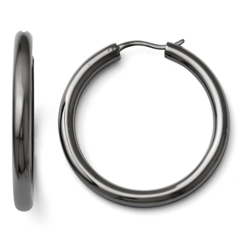Black-plated Sterling Silver 1 1/2in Hoop Earrings with Hidden Wire