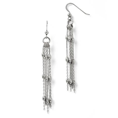 2 1/2in Sterling Silver Six Strand Beaded Earrings