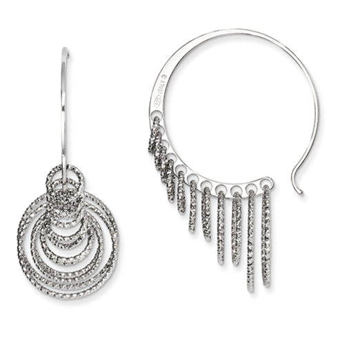 Sterling Silver 1 3/8in Laser-cut Multi Hoop Earrings