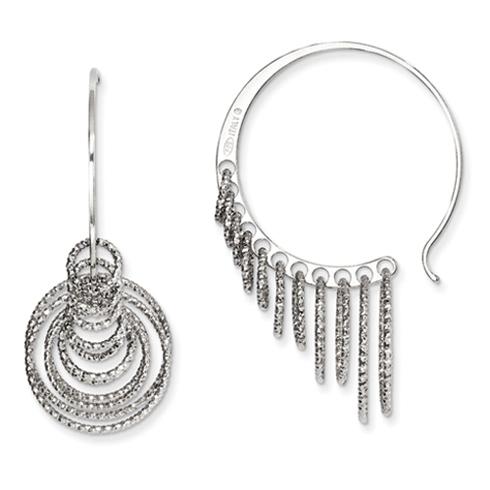 Sterling Silver 1 3/8in Laser-cut Multi Hoop Earrings