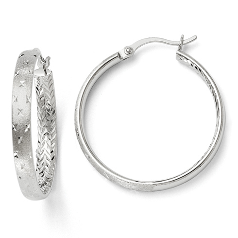 Sterling Silver 1 1/8in Round Textured In/Out Hoop Earrings
