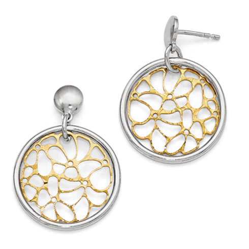Sterling Silver Round Gold-tone Flash Plated Earrings