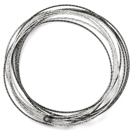Ruthenium Plated Sterling Silver 10 Layer Slip On Bangle Bracelet