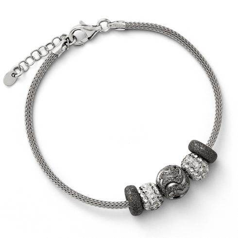 7in Sterling Silver Five Bead Mesh Bracelet
