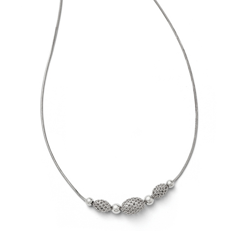 18in Sterling Silver Beaded Necklace