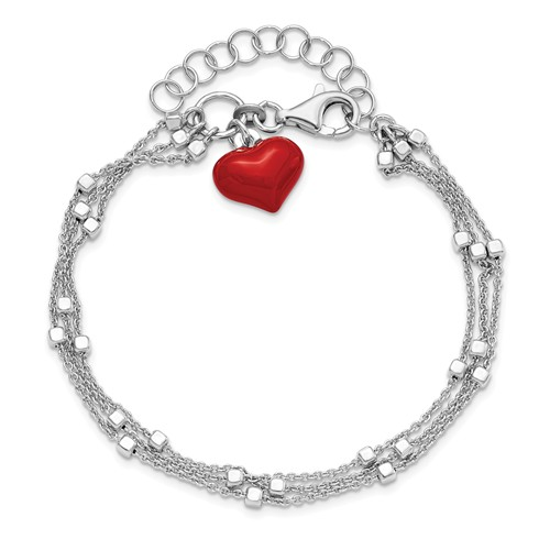 Sterling Silver Red Heart Charm Strand Bracelet with Cube Bead Accents