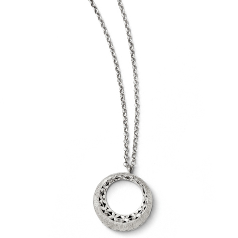 Sterling Silver 1in Diamond Cut Round Pendant on 16in Necklace