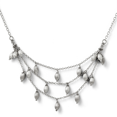18in Sterling Silver Textured Bead Necklace