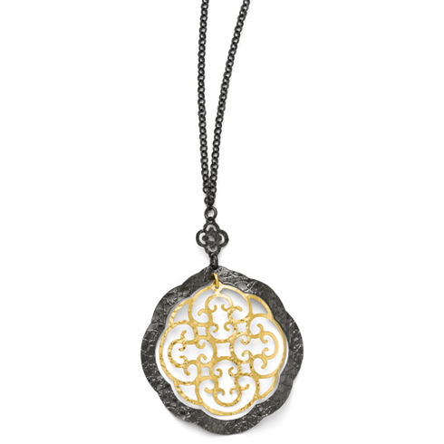 Sterling Silver Gold-plated 18in Floral Cut Through Necklace