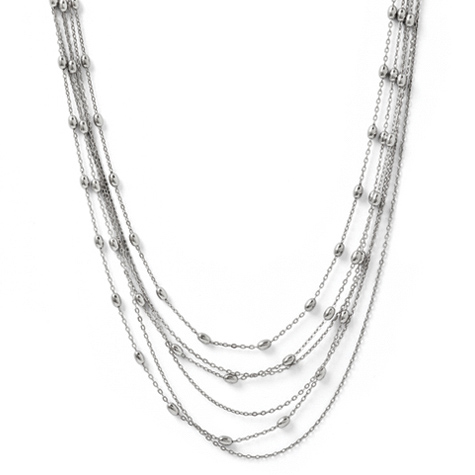 16in Sterling Silver Six Strand Beaded Necklace