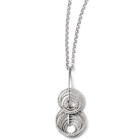 Sterling Silver Laser-cut 11 Hoops 18in Necklace