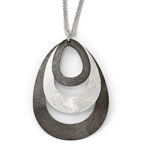 Sterling Silver 1 1/2in Laser Textured Ruthenium-plated Pendant