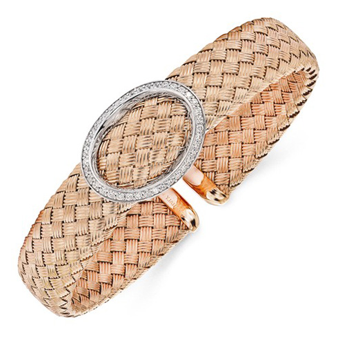 Rose Gold-plated Sterling Silver Woven Cuff with CZ Oval Accent