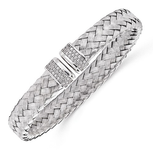 Sterling Silver Woven Cuff Bracelet with CZs