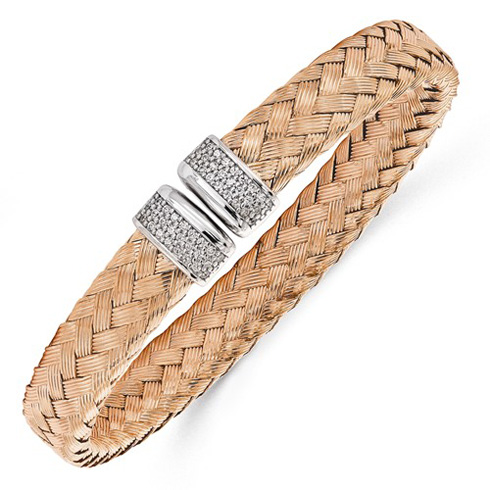 Rose Gold-plated Sterling Silver Woven Cuff with CZs