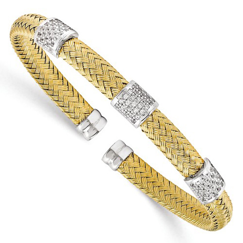 Gold-plated Sterling Silver Woven Cuff Bracelet with CZ Stations