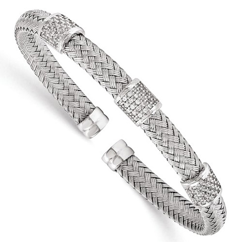 Sterling Silver Woven Cuff Bracelet with CZ Stations