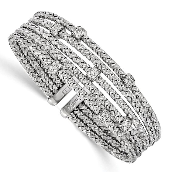 Sterling Silver Woven Multi Strand Cuff with CZs