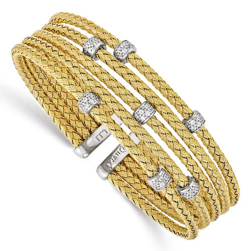 Gold-plated Sterling Silver Woven Multi Strand Cuff with CZs