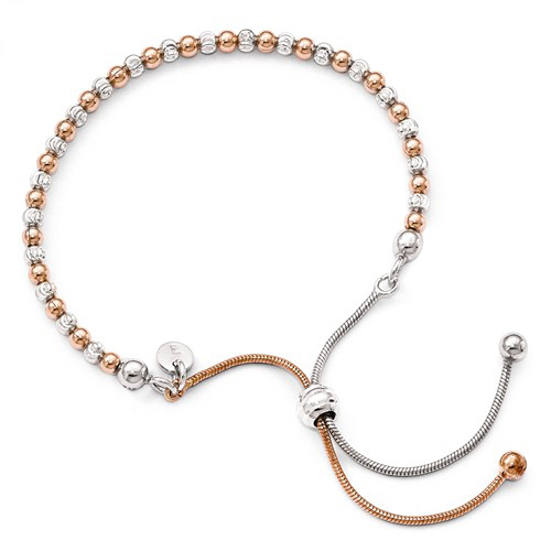 Rose Gold-plated Sterling Silver Italian Adjustable Bead Bracelet