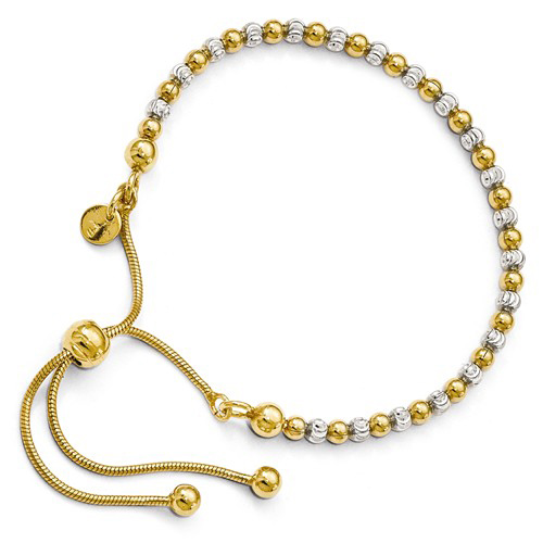 Gold-plated Sterling Silver Italian Adjustable Bead Bracelet