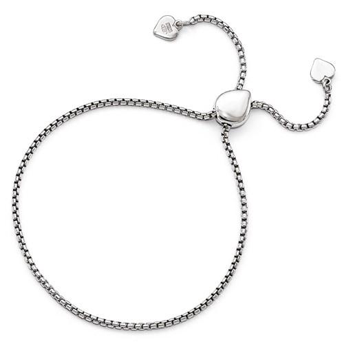 Sterling Silver Adjustable Round Rectangle Box Heart Bracelet