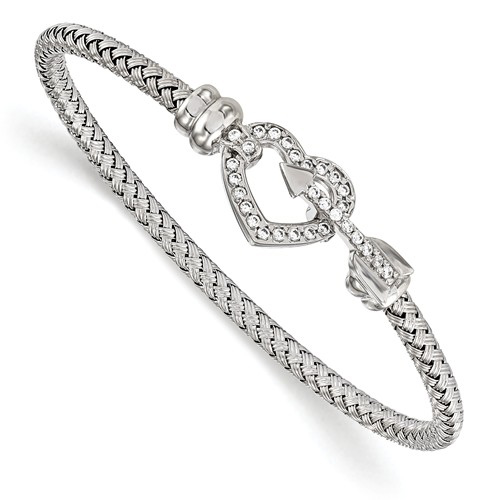 Sterling Silver Heart and Arrow CZ Bangle
