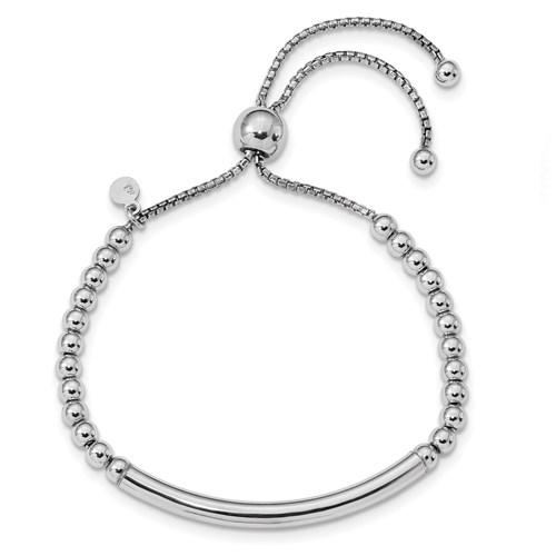 Sterling Silver Italian Polished Beaded Bar Adjustable Bracelet