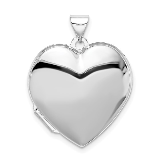Sterling Silver Smooth Heart Locket 7/8in