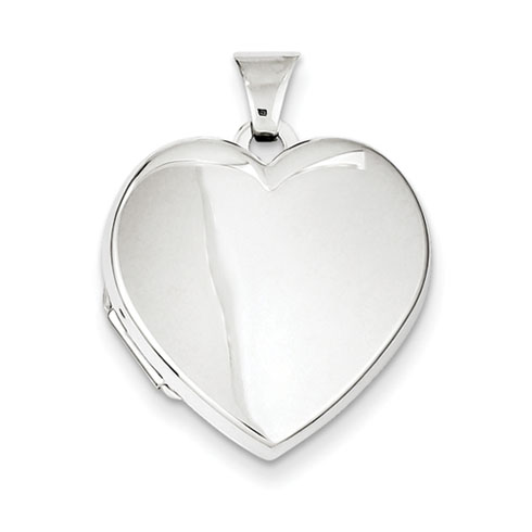 7/8in Sterling Silver Smooth Heart Locket