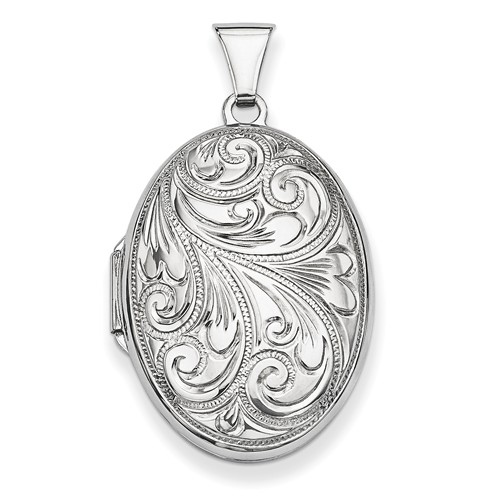 Sterling Silver 1in Scroll Oval Locket