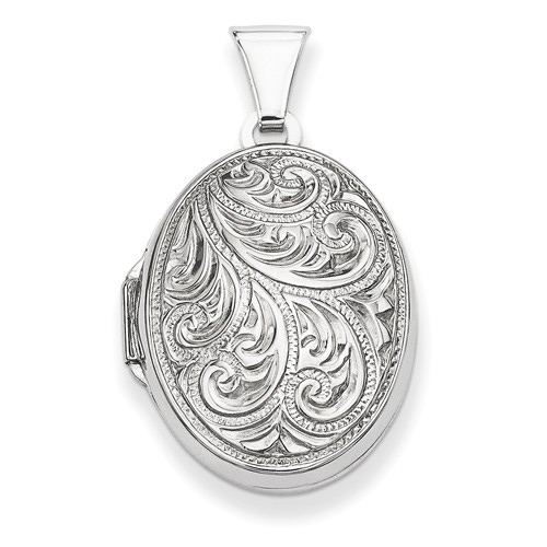 Sterling Silver 3/4in Scroll Design Oval Locket