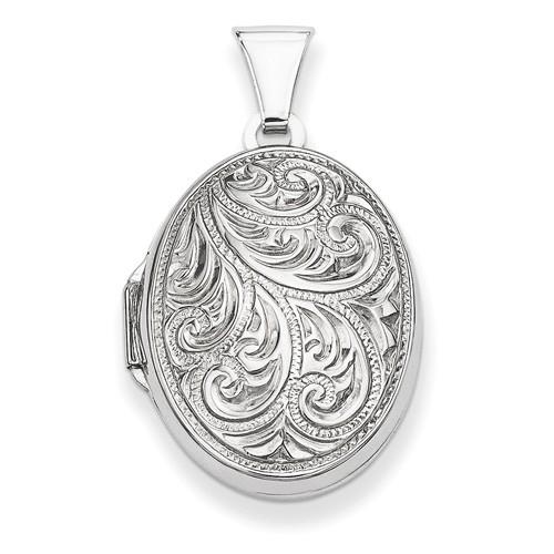 Sterling Silver 3/4in Scroll Design Oval Locket