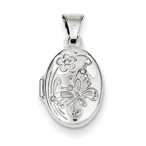 Sterling Silver 1/2in Butterfly Oval Locket