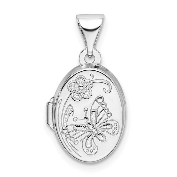 Sterling Silver 1/2in Butterfly Oval Locket