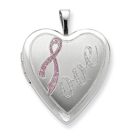 Sterling Silver 3/4in Awareness Silver Ribbon Love Locket